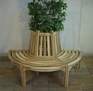 Teakholz Baumbank halber Kreis 150 cm, Gartenbank, Holzbank, massiv - 4